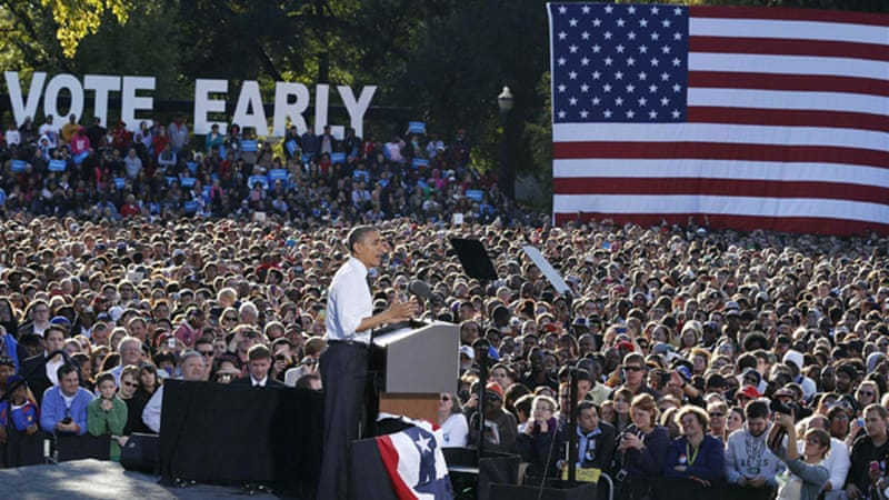 'I need you fired up...We've got an election to win,' Obama told Ohio State University students [Reuters]