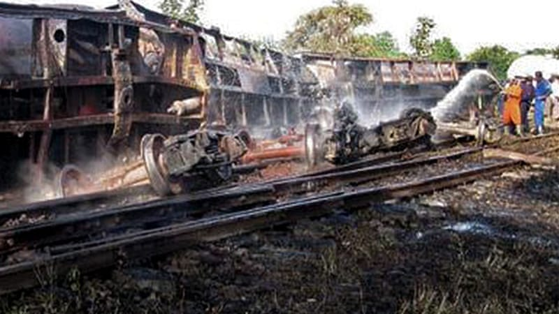 Local villagers collecting fuel after a train derailment were burnt to death in the Sagaing region [AFP]