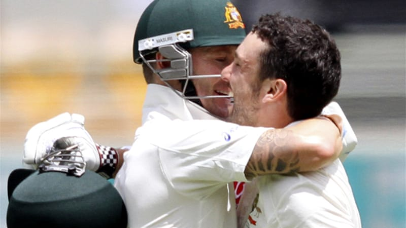 A maiden Test ton by opener Ed Cowan, right, and Clarke's double century gave Australia a 37-run first innings lead at the Gabba [Reuters]