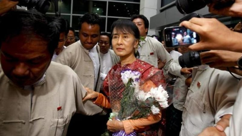Aung San Suu Kyi's opposition party has renewed calls for the release of all political prisoners [EPA]