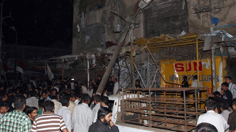 Two people died  in  bomb blast near a Shia Mosque  in Karach [EPA]
