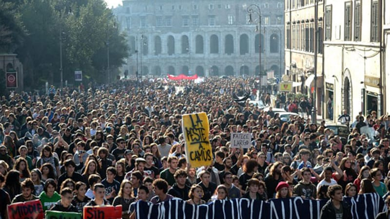Three student protests converged into one mass march in the Italian capital [AFP]