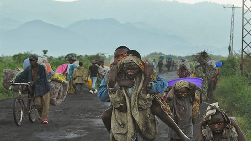 The UN estimate that 140,000 people in and around Goma have been displaced in recent fighting [EPA]
