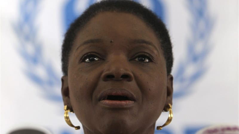 UN Humanitarian Chief Valerie Amos accused Syria of firing bombs near the border prevent people from fleeing [AFP]