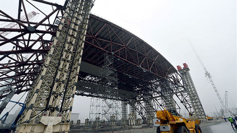 Construction of a shelter at the Chernobyl nuclear power plant reached a significant step on Wednesday [AFP]