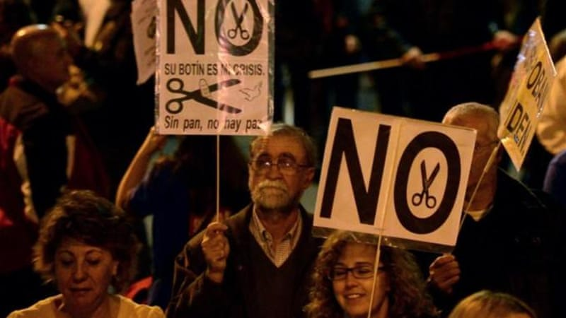 Protesters in Spain have attended demonstrations in Madrid against sweeping austerity measures [AFP]