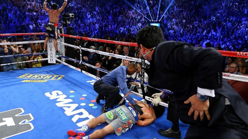 Pacquiao was knocked out cold in the sixth round of his non-title welterweight bout against Mexican rival Juan Manuel Marquez on Saturday, stunning huge Philippine audiences watching the fight live [AFP]