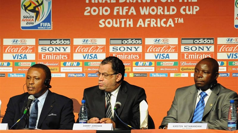 South Africa Football Association president Kirsten Nematandani, above right, and four other officials implicated in the scandal were all returned to office after investigation by the FA [GALLO/GETTY]