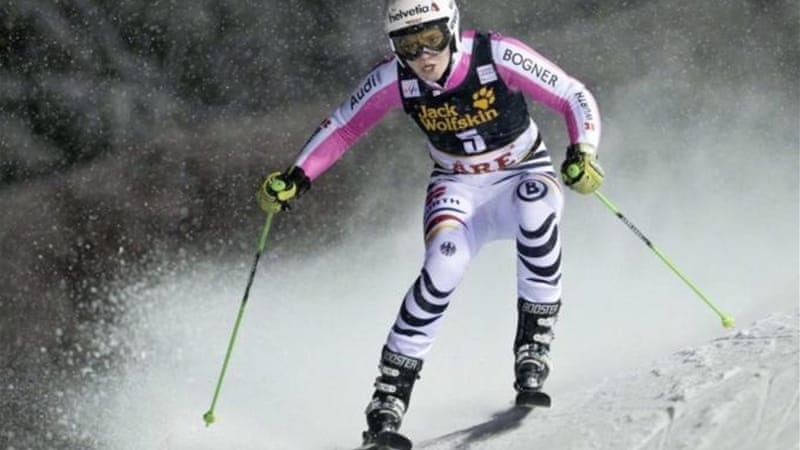 Rebensburg (pictured) won women's giant slalom race but Maze extends overall lead [Reuters]