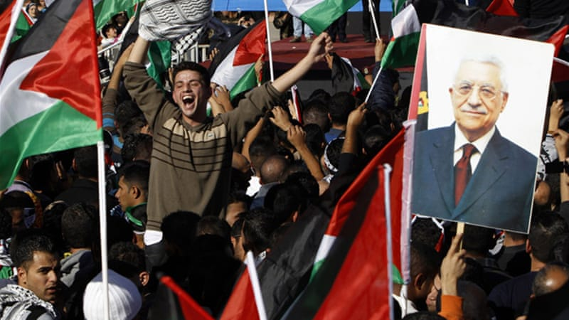 The crowds chanted Abbabs's name and waved Palestinian flags [Reuters]