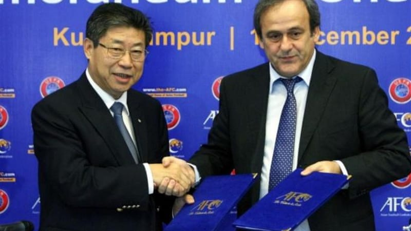 Acting President of the AFC Zhang Jilong (L) is one of the front runners to replace Bin Hammam [AP]