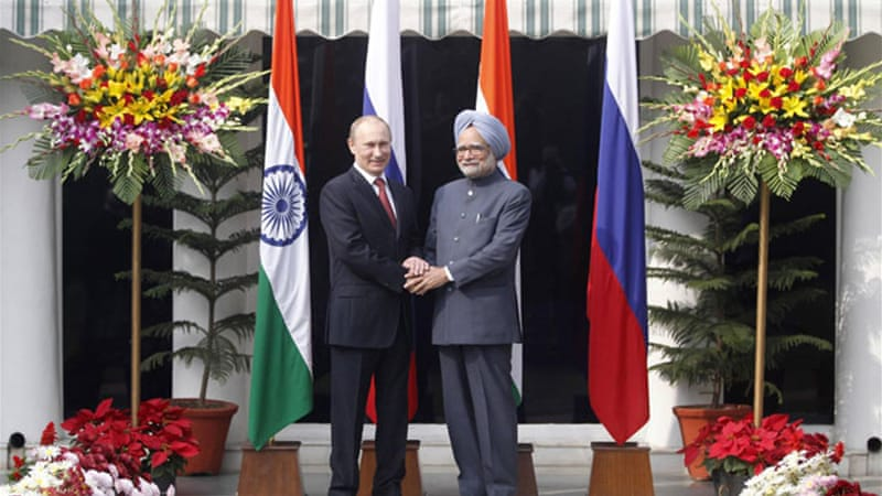 Russian President Vladimir Putin and Indian prime minister Manmohan Singh aim to double trade by 2015 [Reuters]