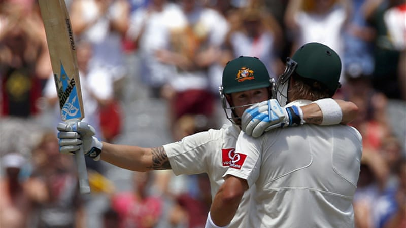 Clarke and Shane Watson shared a 194-run partnership as the Australian skipper showed little sign of the hamstring strain sustained in the Hobart Test [Reuters]