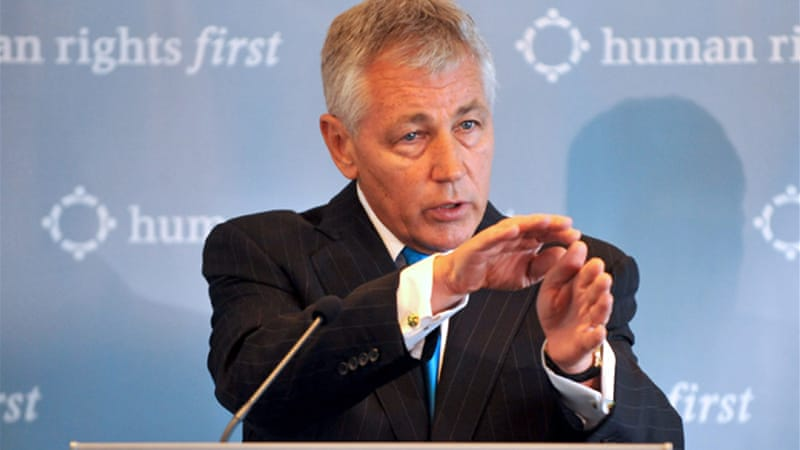 Chuck Hagel was an early Republican critic of the Iraq war and a harsh opponent of the Bush administration [EPA]