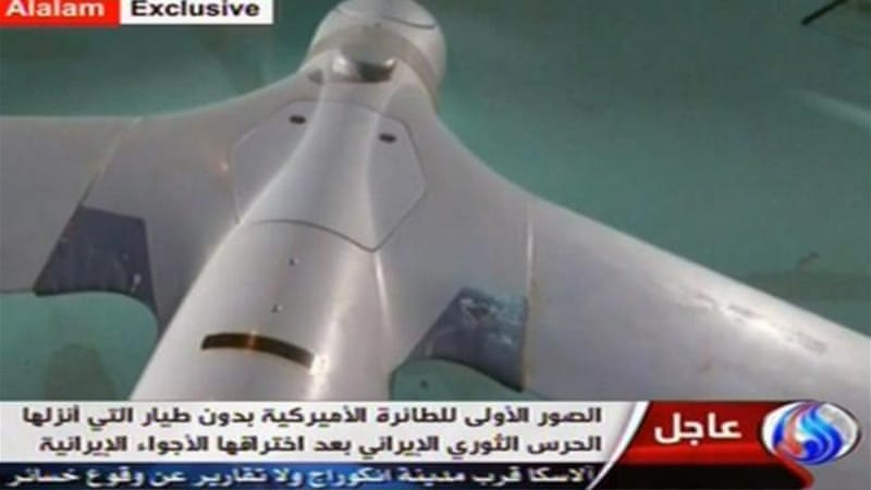 Iranian state TV's Arabic-language channel Al-Alam showed what it claimed to be an intact ScanEagle drone [AFP]