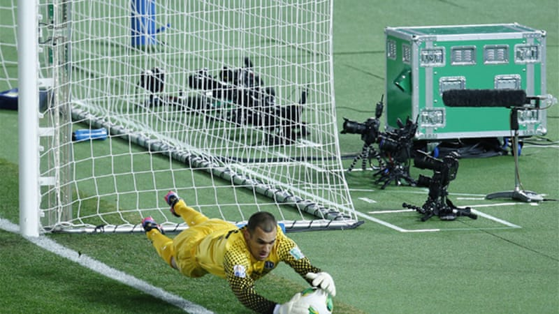 The match marked the first time FIFA has used goal-line technology: the magnetic-field-based system GoalRef was used in the Yokohama stadium and Hawk-Eye will be used at the Toyota Stadium [Reuters]