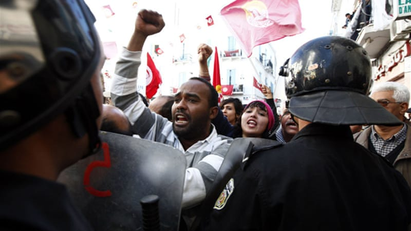 The threat of a nationwide general strike could plunge economically struggling Tunisia back into chaos [Reuters]