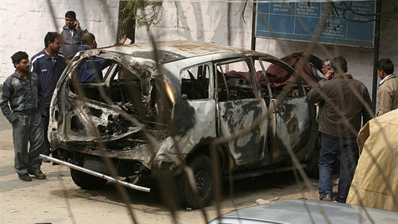 The car was damaged mainly not by the bomb's explosion, but by the resulting slow-burning fire [Reuters]