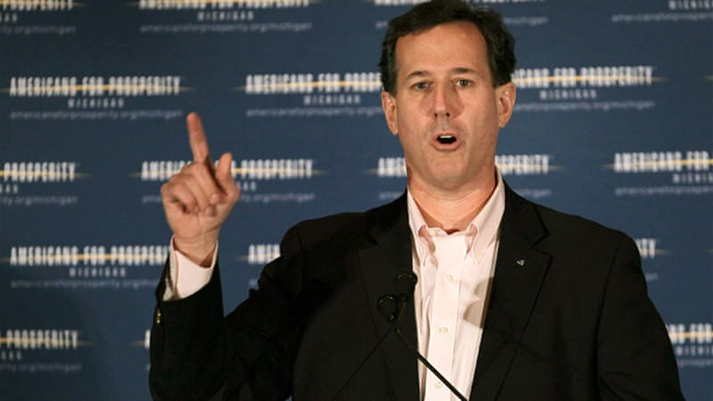 Santorum has made radical statements before taking them back [GALLO/GETTY]