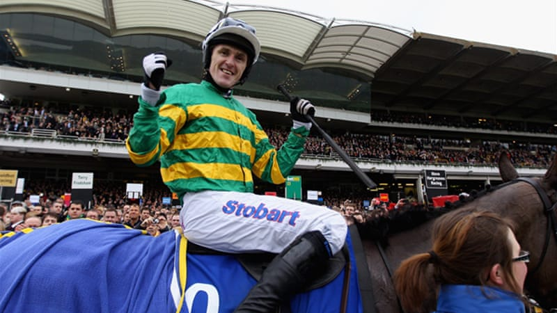 Tony McCoy celebrates his second Gold Cup triumph after riding Synchronised to victory [GALLO/GETTY]