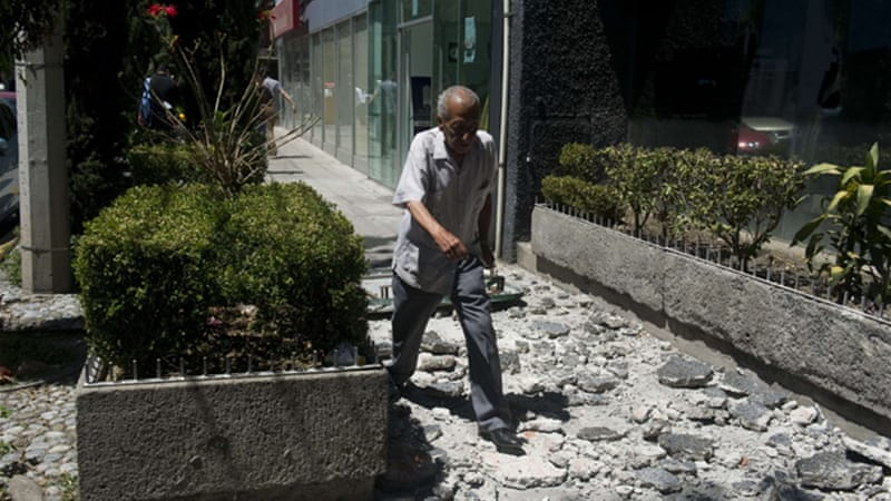 Mexican President Felipe Calderon said there was no serious damage reported from the quake [AFP]