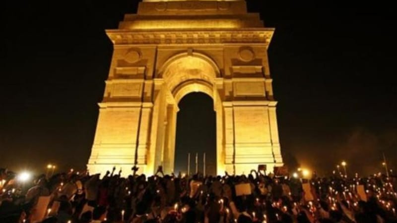 Supporters of detained journalist Kazmi held a vigil for his freedom at India Gate in New Delhi [AP]