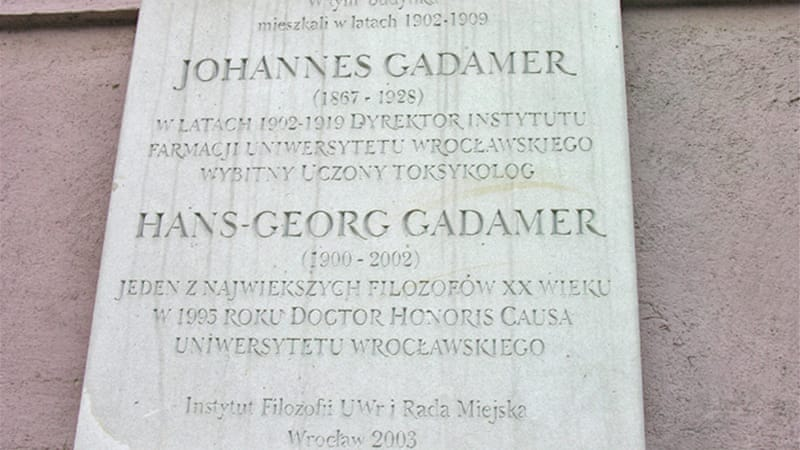 Gadamer had been awarded many honorary doctorates, including one by Poland's University of Wroc?aw, where this memorial plaque hangs [CC/Bonio]
