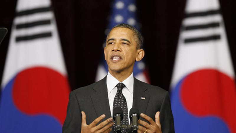 Obama spoke sternly against North Korea and Iran regarding nuclear technology development [Reuters]