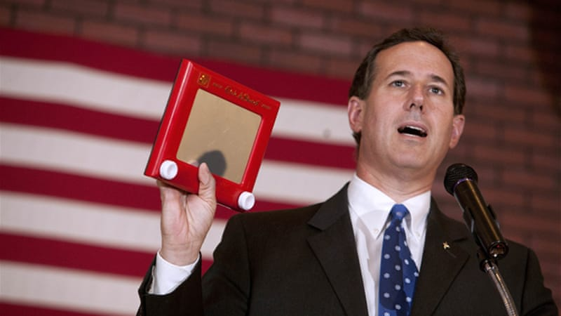 Rick Santorum has been using the 'Etch-a-Sketch' slip up made by a Romney adviser to attack the former Massachusetts governor [GALLO/GETTY]