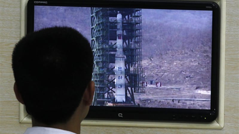 North Korea launched a long-range rocket, the Unha-3, despite international condemnation [Reuters]