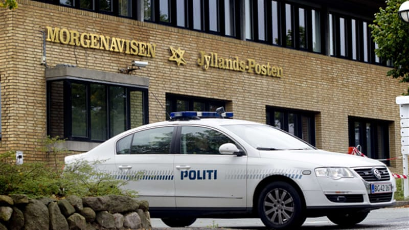The four men were found guilty of planning to attack the offices of the Jyllands-Posten newspaper [AFP]