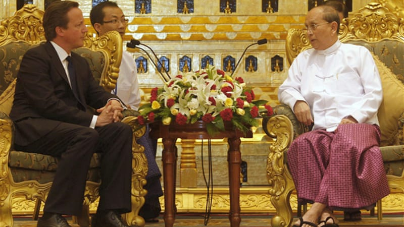 Cameron, left, could push for the EU sanctions against Myanmar to be lifted later this month [REUTERS]