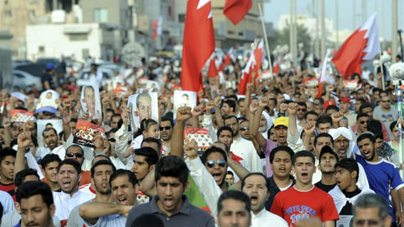 Protesters gathered in Bahrain to show their anger against the planned Formula 1 race [EPA]