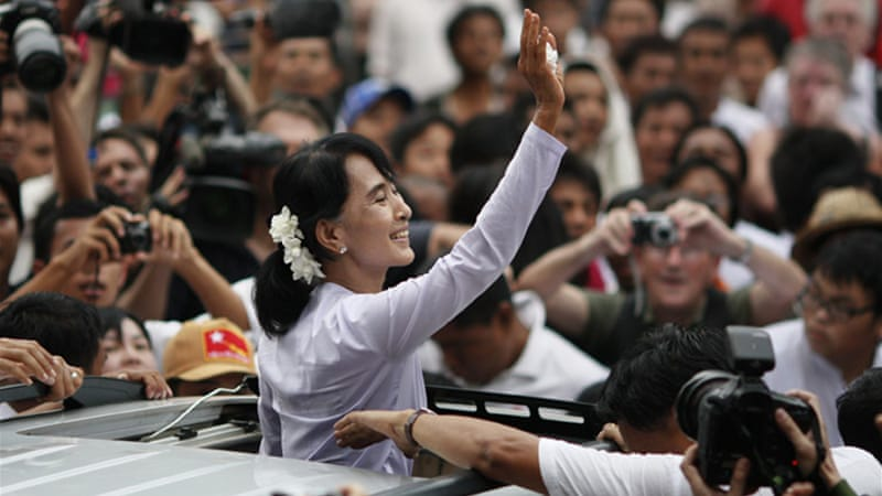 Suu Kyi is on her first trip outside Myanmar in decades, since being released from house arrest two years ago  [Reuters]