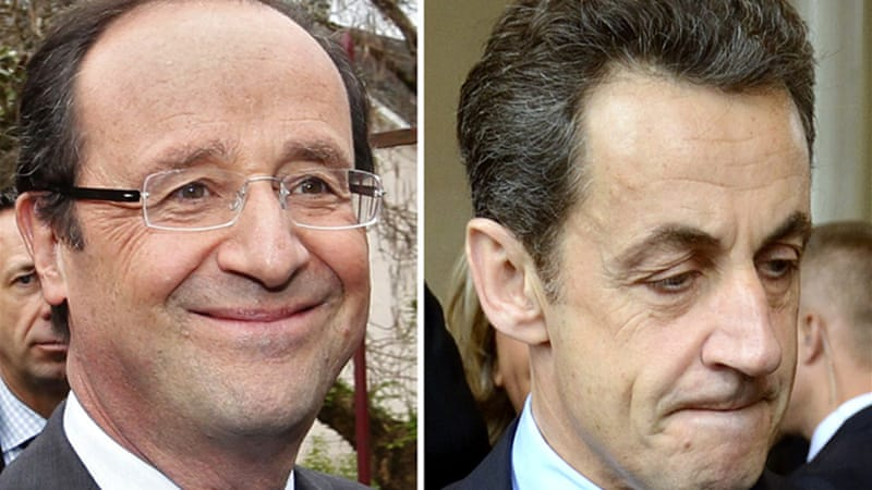 Francois Hollande, left, won 29 per cent of the vote, while incumbent Nicolas Sarkozy won 27 per cent [REUTERS]