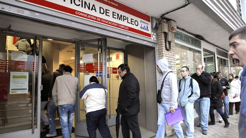About one in four Spaniards are unemployed, including one in two under the age of 25 [EPA]