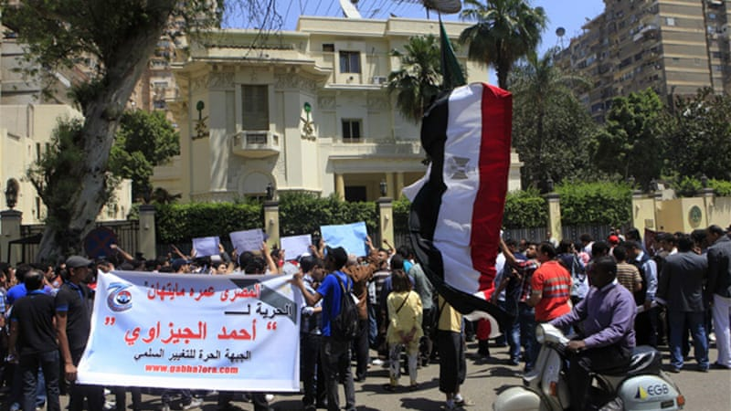 Hundreds of Egyptians have rallied at the Saudi embassy to demand the release of Ahmed el-Gezawi [AP]