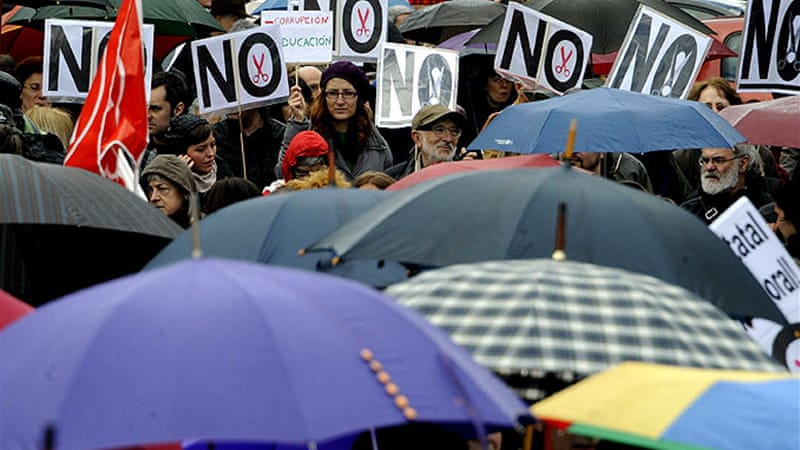 Spain's two biggest unions, the CCOO and the UGT, said Spaniards marched in 55 cities on Sunday [AFP]