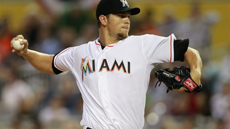 Josh Johnson, Miami's starring pitcher, gave up three runs on 10 hits in six innings [Reuters]