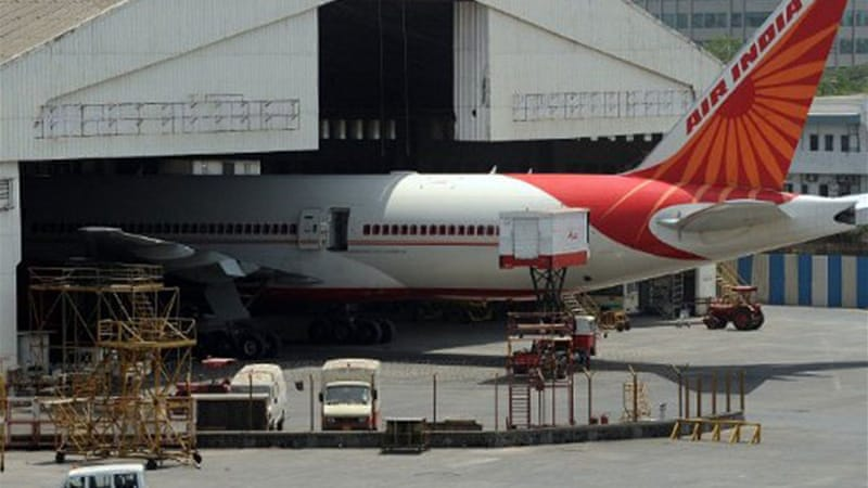 About 250 pilots from Air India are on strike, forcing the cancellation of 48 flights [AFP]