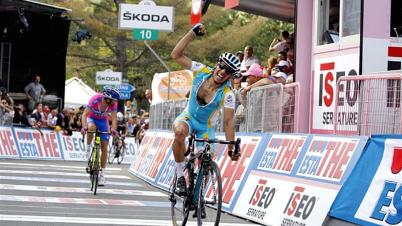Tiralongo edged defending champion Michele Scarponi for the victory in the final yards of the steep climb to the finishing line [EPA]