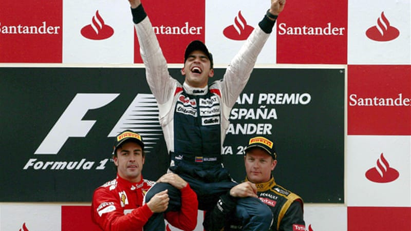 Maldonado became the first Venezuelan driver to stand on the podium and the fifth different winner in as many races [EPA]