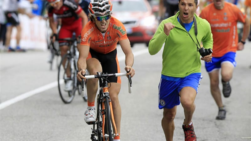 Being chased by a Chelsea fan seemed the perfect motivation for Euskaltel-Euskadi's Jon Izaguirre Insausti [Reuters]