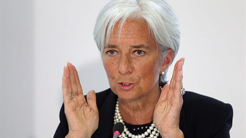 "Asked whether it was payback time for debt-crippled Greece and the eurozone, Lagarde said: ""That's right""[AFP]"