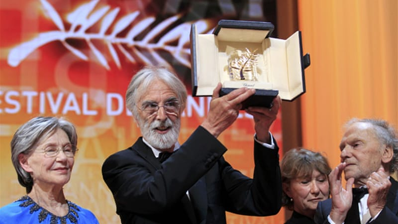 Michael Haneke won the Palme d'Or award for the film Amour (Love) during the 65th Cannes Film Festival [Reuters]