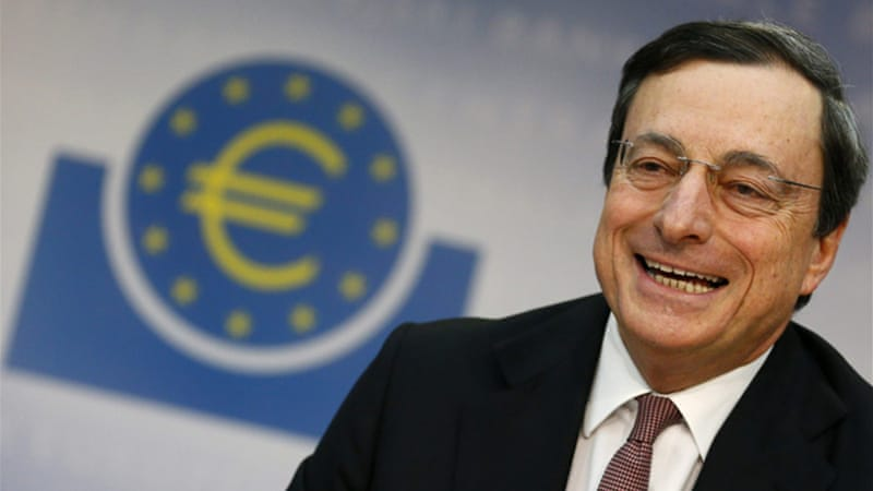 Draghi said the eurozone economy was likely to improve this year but the outlook was uncertain [Reuters]