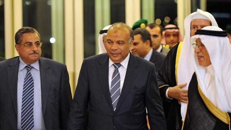 Egypt's parliamentary speaker Katatni, centre, visited Riyadh with a delegation to meet King Abdullah [AFP]