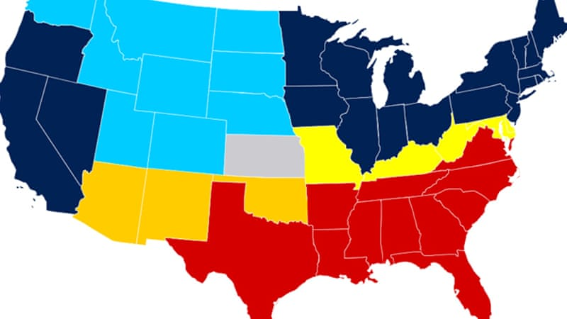 The 1865 US secession map - where blue were 'free' states, red were 'slave' states while yellow were states that 'permitted' slavery [Wikimedia Commons]