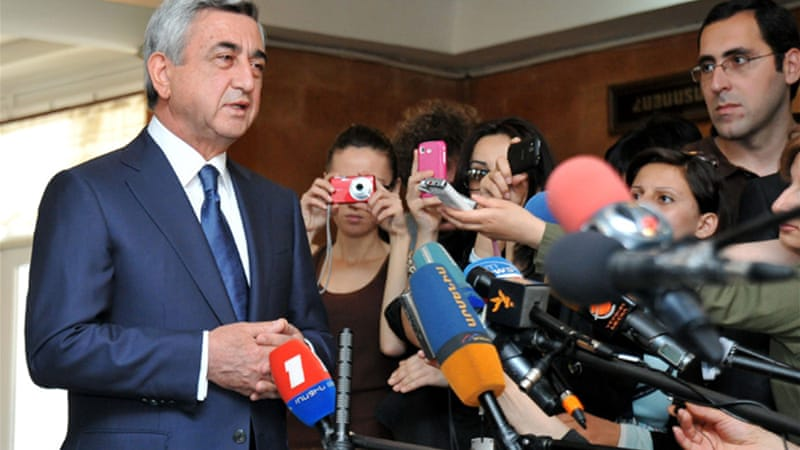 President Serzh Sarkisian promised a fair election, and portrayed the vote as a break from the past [AFP]