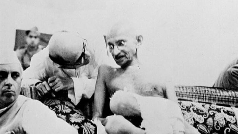 Mahatma Gandhi counselled non-violent resistance to nuclear bombardment [AFP]